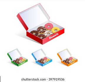 Donuts in a box. vector illustration on a white background. icons