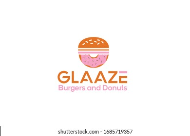 Donuts and burger logo vector template