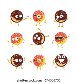 Donuts Cartoon Character - modern vector template set of mascot illustrations. Gift images of donuts dancing, smiling, having a good time. Emoticons, friendship, coolness, surprise, emotions