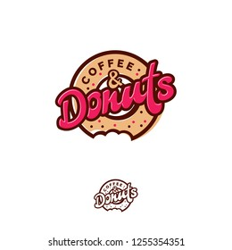 Donuts and Coffee logo. Cafe or bakery emblem. Bitten Donut with lettering and small candies. Monochrome option.