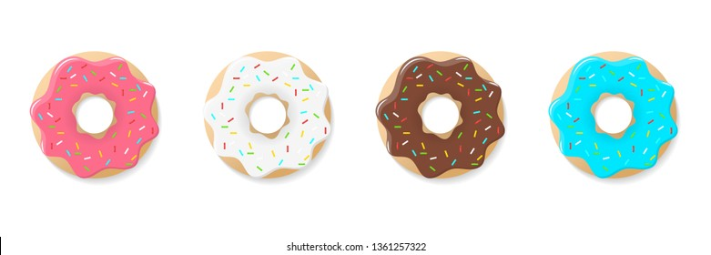 Donuts with colored glaze and colorful sprinkles Illustration Vector