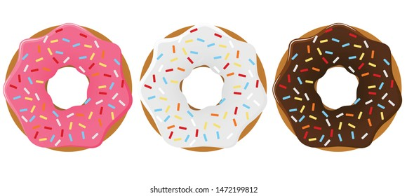 Donuts with colored glaze and colorful sprinkles. Vector