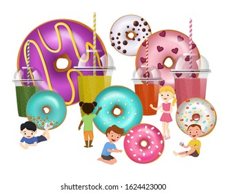 Donuts doughnuts and children vector illustration isolated. Group of happy micro mini boys and girls among big glazed colorful sweets desserts donuts food and juice drinks beverages.