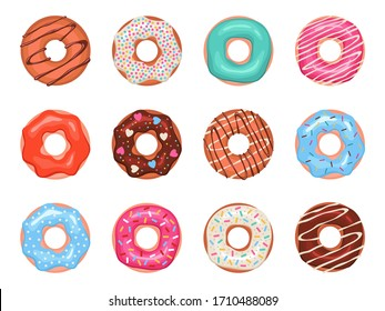Donuts. Doughnuts in colorful glaze, kids sweets assorted, pastry for menu design, cafe decoration and delivery box glazed cover vector set
