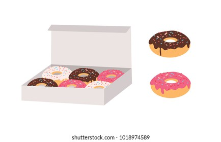 Donuts glazed with colorful sugar and chocolate icing and topped with sprinkles lying in carton box and isolated on white background. Tasty fried dough confectionery or dessert. Vector illustration.