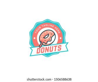 Donuts logo design. Vintage logo vector. Retro logo badge