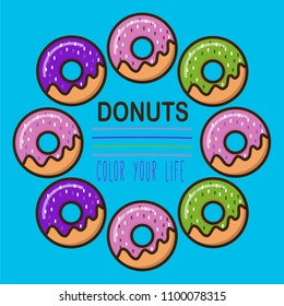 Donuts logotype template for web and print design in flat colorful style
