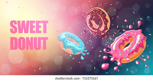 Donuts with pink, chocolate and blue mint  glaze falling on chocolate background. Splashes  of glaze and colored sprinkles. Vector background, horizontal banner.