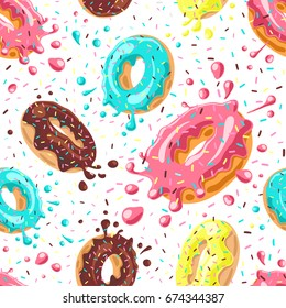 Donuts with pink, chocolate, lemon, blue mint glaze falling on white background. Splashes of colored glaze and colored sprinkles. Seamless pattern
