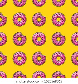 Donuts with pink glaze on yellow background. Seamless pattern. Texture for fabric, wrapping, wallpaper. Decorative print.
