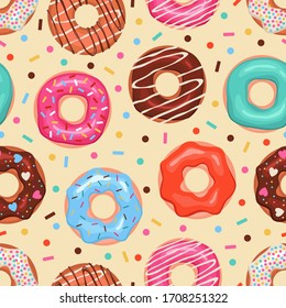 Donuts seamless pattern. Colored doughnuts assorted, american sweet food. Design for fabric print, bakery sticker cartoon vector dessert texture