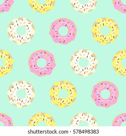 Donuts seamless pattern on mint green background. Cute sweet food background. Colorful design for textile, wallpaper, fabric, decor.
