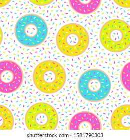 Donuts seamless pattern. Sweet food repeat background. Vector illustration.