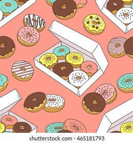 Donuts seamless pattern vector. Doodle collection confections. Colorful background with sketch objects and food icon