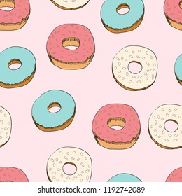 Donuts seamless vector pattern