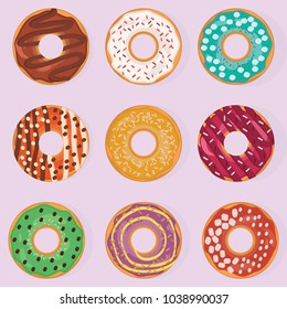 Donuts. A set of nine donuts isolated on a light background. A variety of donuts with different tastes and designs. Sweet donuts. Postcard, background, banner, game design. Template for design. Vector