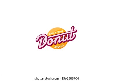 Donuts shop logo. Cafe or bakery emblem. Bitten Donut with lettering and small candies.