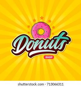 Donuts shop vector lettering logo!