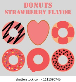 Donuts strawberry flavor flat design for sweet and dessert foods