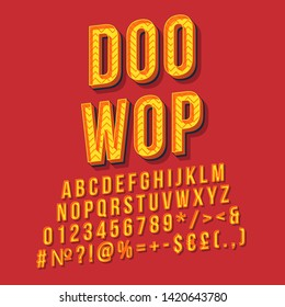 Doo wop vintage 3d vector lettering. Retro bold font, typeface. Pop art stylized text. Old school style letters, numbers, symbols, elements pack. 90s, 80s poster, banner. Crimson color background