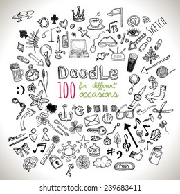 Doodle 100 Icons. Hand drawn, various scetch. Universal set isolated. Vector