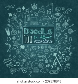 Doodle 100 Icons. Universal set on textured background. Vector
