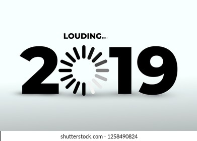 Doodle with 2019 loading. New year download screen. Progress bar almost reaching new years eve. Vector illustration. Isolated on white background.