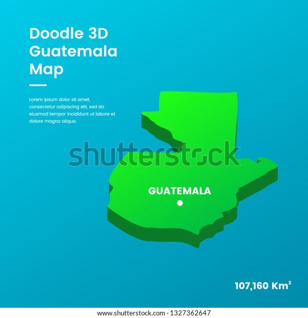 Doodle 3d Guatemala Map Stock-Vrgrafik (Lizenzfrei) 1327362647 on