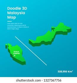 Doodle 3D Malaysia Map