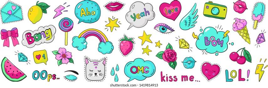 Doodle 90s stickers. Pop art fashion comic badges, trendy cartoon 80s kawaii icons. Vector lol rainbow cherry heart modern girl patches illustration set
