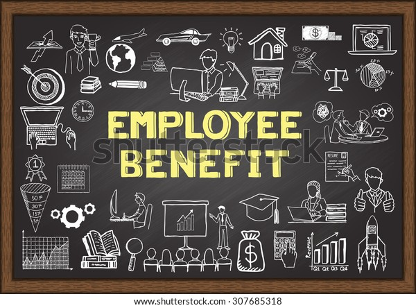 Doodle about employee benefit on chalkboard.
