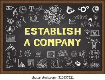 Doodle about establish a company on chalkboard.