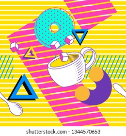 Doodle abstract geometric seamless pattern with  pop and zine culture elements coffee cups and donuts