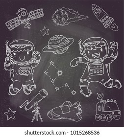 doodle aerospace or couple astrounauts illustration vector