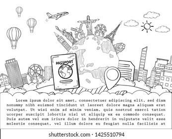 doodle airplane around the world concept summer banner plane aerial check in with Top world famous landmark blank on map space for text and content. vector, banner, Card, Hand Draw