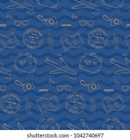 Doodle airplane travel pattern with wavy background. Playful, luxury, and flexible doodle pattern for brand who has fun style. The art vector graphic can be repeated.