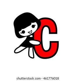 Doodle Alphabet hand drawn letter C