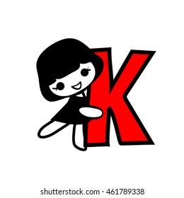 Doodle Alphabet hand drawn letter K