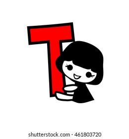 Doodle Alphabet hand drawn letter t