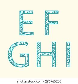 "Doodle alphabet. Letter ""E"", ""F"", ""G', ""H', ""I""."