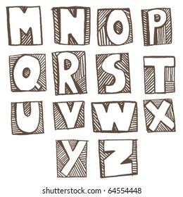 Doodle alphabet m-z