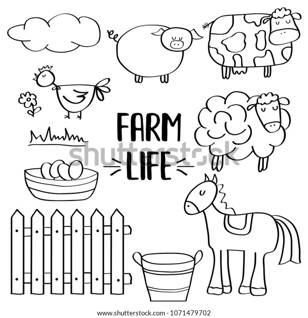 Doodle Animal Farm Set Colorig Vector Stock Vector Royalty Free 1071479702