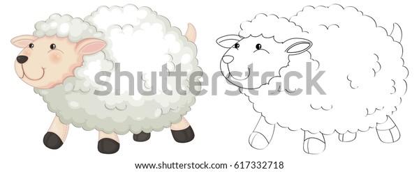 ふわふわした羊のイラスト用落書き動物 のベクター画像素材 ロイヤリティフリー