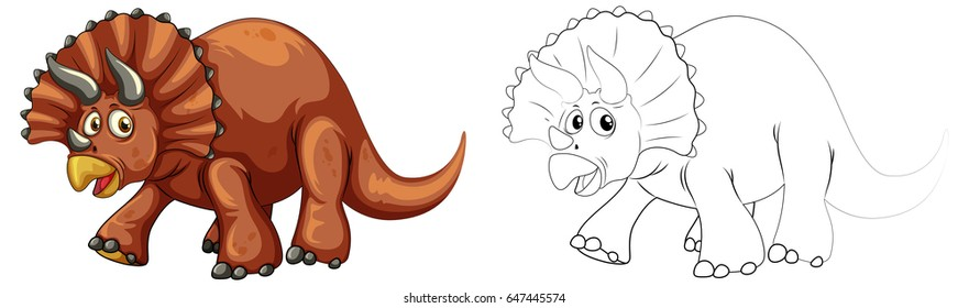 Doodle animal for triceratops dinosaur illustration