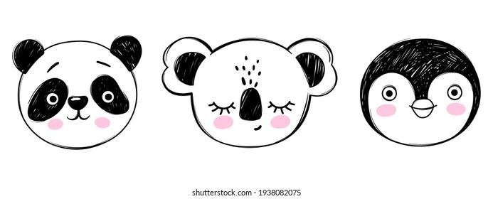 Doodle animals head vector set. Panda, koala, penguin faces in sketch style. Hand drawn cute children's illustrations for birthday cards, t-shirt print, posters.