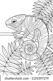 Doodle anti-stress coloring book page for adults and children. Tropic chameleon.