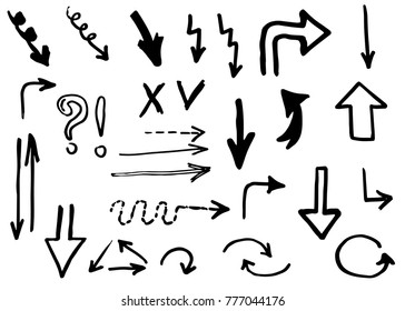 Doodle arrows hand drawn