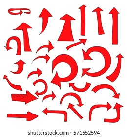 Doodle arrows set. Isolated flat symbol is drawn with red color on a white background, angles are rounded.