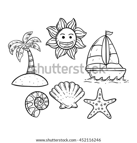 doodle art boat on sea small stock vector royalty free 452116246 Start with the Pictures and Food Chains Food Webs Sun doodle art boat on the sea with small island smile sun and shell
