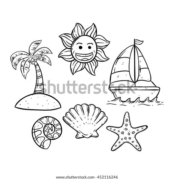 Doodle art boat on the sea with small island, smile sun and shell
